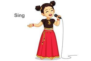 menina com roupa tradicional cantando uma música