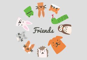 Círculo de amigos de vetores de animais