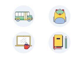 Ícones do vetor da escola