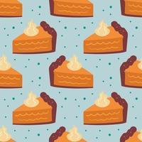 outono elementos padrão sem emenda, textura. torta de abóbora em fundo azul claro. bolo, comida doce, panificação. vetor
