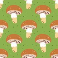 cogumelo em padrão verde sem costura