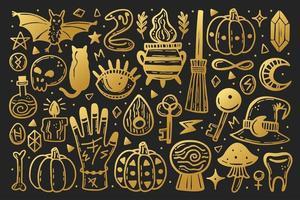 conjunto de elementos de halloween dourado vetor