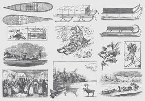 Ilustrações cinzentas do inverno do vintage vetor