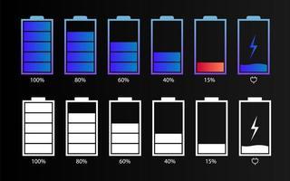 elementos de interface de usuário de bateria digital vetor