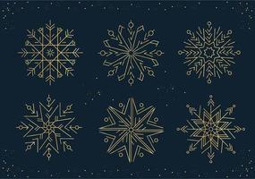 conjunto de flocos de neve de ano novo em estilo de linha vetor