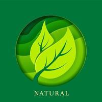 pôster natural com folhas em estilo de papel vetor