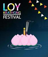 projeto festival loy krathong com vela na água vetor