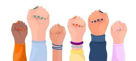 levantadas as mãos de mulheres com diferentes cores de pele vetor