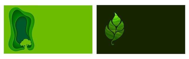 conjunto de ecologia de origami e folhetos ou pôsteres naturais vetor