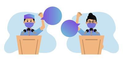 debates políticos mascarados sobre o design do pódio vetor