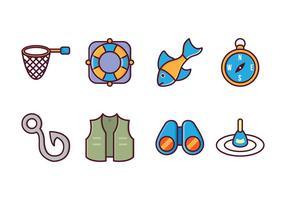 Pacote de ícones de pesca grátis vetor