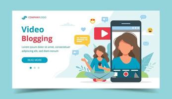 blogueiro de vídeo feminino na tela do smartphone vetor