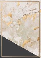textura de pedra de mármore dourado e cartão com moldura de ouro vetor