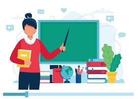 professora com livros e lousa, vídeo aula