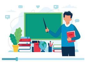 professor com livros e lousa, vídeo aula