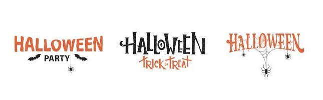 tipografia de halloween com aranhas e teias de aranha vetor