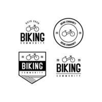 Conjunto de logotipo da comunidade vintage retrô hippie vetor
