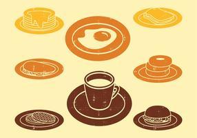 Ícones do café da manhã vetor
