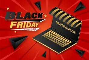 Black Friday, compras online no banner do laptop vetor