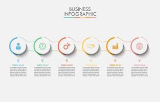 Infográfico de 6 etapas do círculo conectado colorido