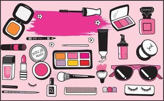 Conjunto de maquiagem e cosméticos desenhados à mão vetor