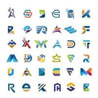 coleção criativa de cartas iniciais coloridas