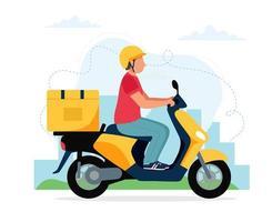 Mensageiro masculino andando de scooter com caixa de entrega vetor