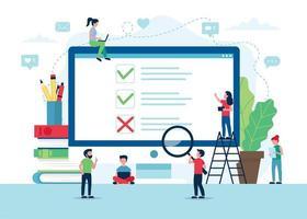 tela de pesquisa de satisfação do cliente com marcas e cruzes vetor