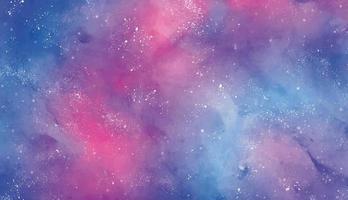 textura do céu da galáxia em aquarela em rosa e azul vetor
