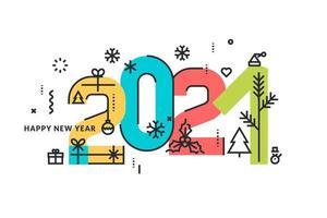 design colorido de ano novo de 2021 com ícones de férias