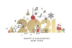 design dourado de ano novo de 2021 com ícones de férias