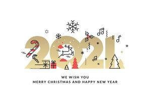 cartão de feliz natal e feliz ano novo 2021