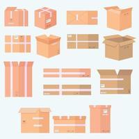 conjunto de ícones de várias caixas de papelão vetor