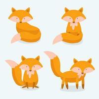 coleção de raposa desenhada à mão vetor