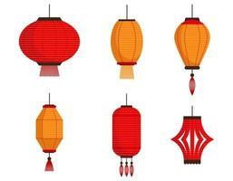 conjunto de diferentes lanternas chinesas vetor