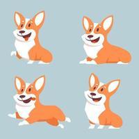 cachorro corgi em diferentes poses vetor