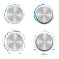 botão de volume metálico definido em branco vetor