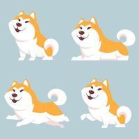 cachorro akita inu em diferentes poses vetor