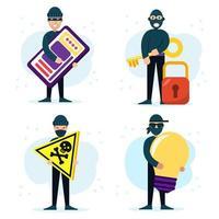 vários conjuntos de conceitos de personagens de hackers