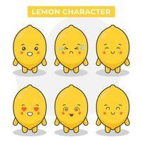 personagens fofinhos de limão vetor