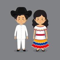 casal de personagens usando vestido nacional venezuelano vetor