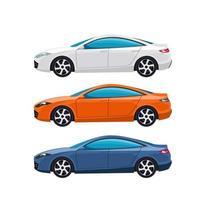 conjunto de carros sedan moderno branco, laranja e azul