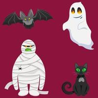 conjunto de personagens de halloween