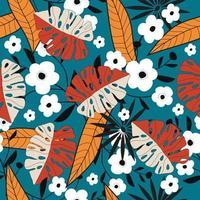 padrão floral tropical colorido vetor