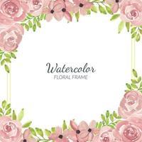 borda floral rosa rosa aquarela pintada à mão vetor