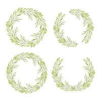 coleção de coroa de flores em aquarela com folhagem verde vetor