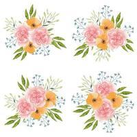 lindo conjunto de buquê de flores de cravo em aquarela vetor
