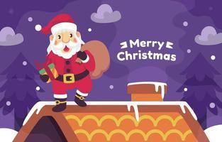 Papai Noel vindo com presentes no telhado vetor