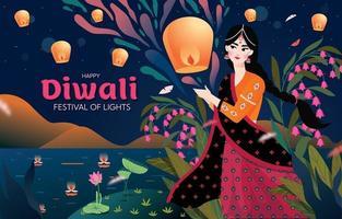 uma mulher comemorando o feliz diwali vetor