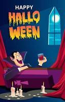 cartão de cena de terror de halloween vetor